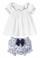 Sophie & Lucas Girls Two Piece Doll Set - Bloomers with Bow - Blue Chinoise Floral