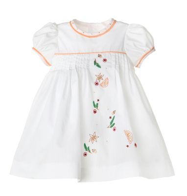 Sophie & Lucas Girls White Embroidered Fall Spice Pleat Dress