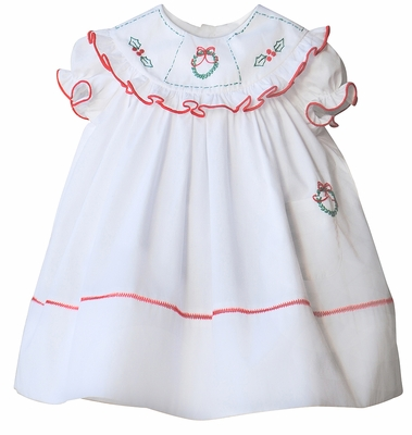 Sophie & Lucas Girls White Merry Christmas Wreath & Holly Dress