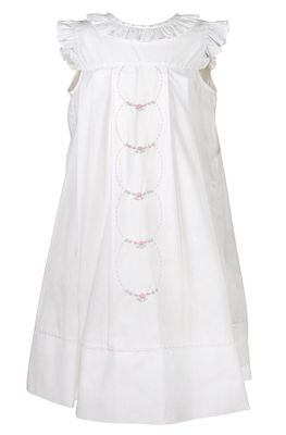 Sophie & Lucas Girls White Ruffle Dress - French Knot Circle Embroidery
