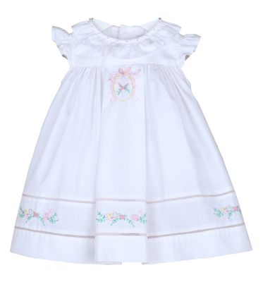 Sophie & Lucas Girls White Sugarbelle Ruffle Dress with Pink Embroidery