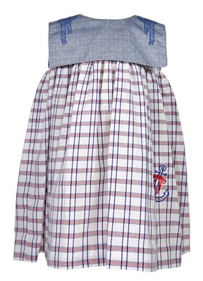 Sophie & Lucas Toddler Girls Blue / Red Plaid Embroidered Nautical Anchor Dress