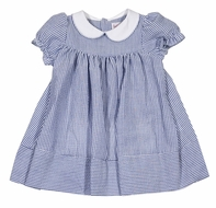 Sophie & Lucas Toddler Girls Blue Seersucker Dress with Collar