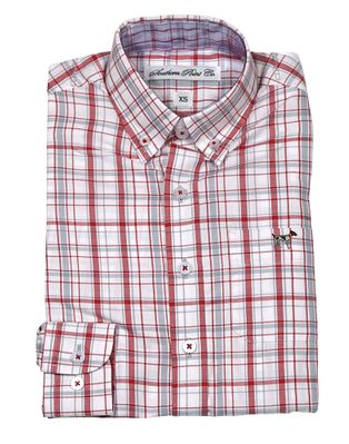 Southern Point Boys Youth Hadley Shirt - Long Sleeves - Gray / Red Plaid
