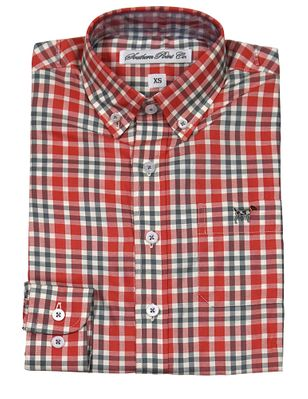 Southern Point Boys Youth Hadley Shirt - Long Sleeves - Orange Fall Plaid