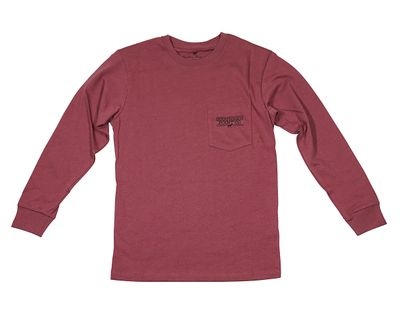 Southern Point Boys Youth Signature Long Sleeve Tee Shirt - Burgundy Vintage Christmas Tree on Back