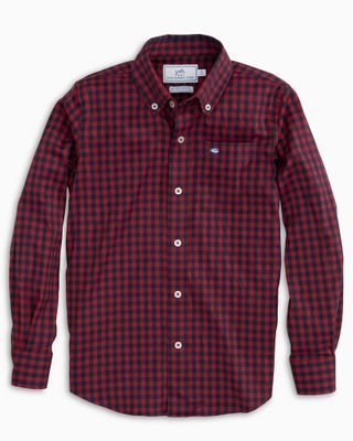 Southern Tide Boys Poppy Red / Navy Blue Gingham Button Down Shirt