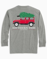 Southern Tide Limited Edition Holiday Ready Shirt!  Gray with Red Christmas Tree Jeep
