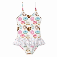 Stella Cove Girls Donut Print Skirted One Piece Bathing Suit