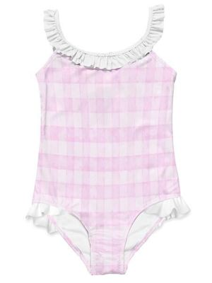 Stella Cove Girls Pink Check One Piece Swimsuit