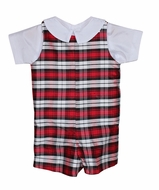 Susanne Lively Baby / Toddler Boys Red / Black Holiday Plaid Silk Jon Jon with Shirt