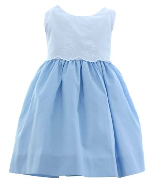 Susanne Lively Baby / Toddler Girls Blue Dress - White Lace Bodice