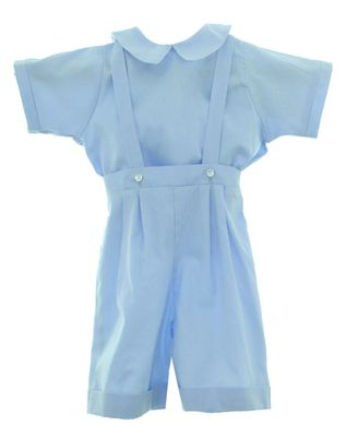 Susanne Lively Boys Dressy Blue Suspender Shorts with Shirt