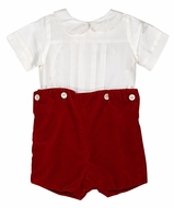 Susanne Lively Boys Ivory Silk Shirt with Red Velvet Button On Shorts