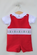 Susanne Lively Boys Shortall with Christmas Tree Trim - Red