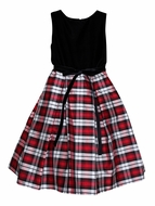 Susanne Lively Girls Black / Red Plaid Silk Holiday Dress - Black Bodice