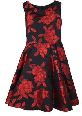 Susanne Lively Girls Black / Red Rose Holiday Twirl Dress