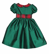 Susanne Lively Girls Emerald Green Christmas Dress - Red Plaid Collar and Sash