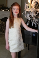 Susanne Lively Girls Gold Brocade A-Line Holiday Party Dress