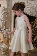 Susanne Lively Girls Gold Brocade Holiday Party Twirl Dress