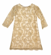 Susanne Lively Girls Gold Lace A-Line Party Dress