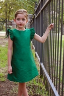 Susanne Lively Girls Green A-Line Christmas Dress with Flutter Sleeves