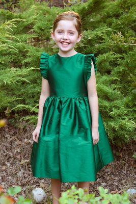 Susanne Lively Girls Green Christmas Holiday Party Dress with Flutter Sleeves