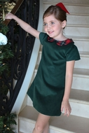Susanne Lively Girls Green Corduroy A-Line Dress - Holiday Plaid Collar