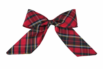 Susanne Lively Girls Hair Bow to Match Dress - Red Holiday Plaid