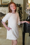 Susanne Lively Girls Ivory Faux Fur A-Line Dress with Sleeves & Pockets