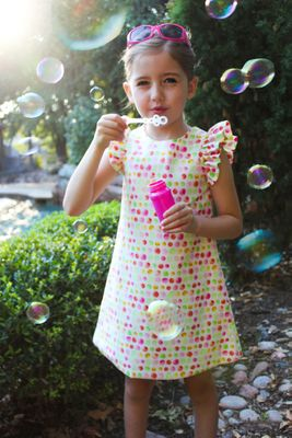 Susanne Lively Girls Pink Bubble Print Dress with Flutter Sleeves