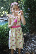 Susanne Lively Girls Pink Bubble Print Dress with Ruffle Collar