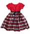 Susanne Lively Girls Red / Black Holiday Plaid Silk Dress - Red Bodice