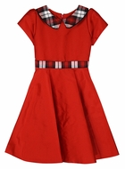 Susanne Lively Girls Red Christmas Dress - Red / Black Plaid Collar