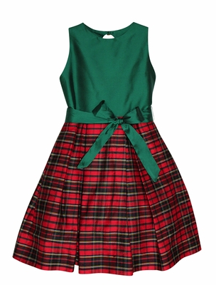 Susanne Lively Girls Red / Green Holiday Plaid Silk Dress - Green Bodice - Key Hole Back