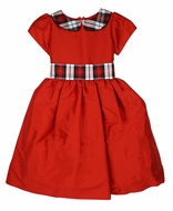 Susanne Lively Girls Red Holiday Party Dress - Red / Black Plaid Collar & Sash
