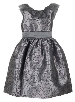 Susanne Lively Girls Silver Floral Party Dress - Ruffle Collar - Gorgeous Back!
