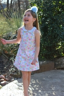 Susanne Lively Girls Sleeveless Vintage Floral Dress with Collar