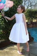 Susanne Lively Girls Special Occasion Dress - Flower Trim - White