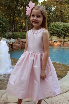Susanne Lively Girls Special Occasion Dress with Flower Trim - Pink
