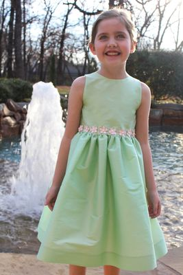 Susanne Lively Girls Special Occasion Dress with Pink Flower Trim - Green