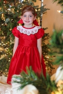 Susanne Lively Girls Taffeta Christmas Dress - Embroidered Wreath Collar - Red