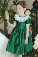 Susanne Lively Girls Taffeta Dress with Christmas Tree Lace Collar - Green