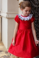 Susanne Lively Girls Taffeta Dress with Christmas Tree Lace Collar - Red