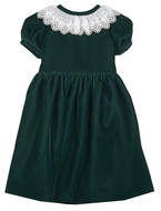 Susanne Lively Girls Velvet Christmas Dress - Lace Collar - Emerald Green