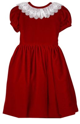 Susanne Lively Girls Velvet Christmas Dress - Lace Collar - Rich Red