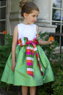 Susanne Lively Girls White / Green Dress with Spring Plaid Sash