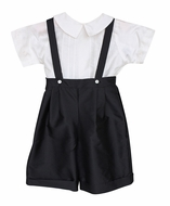 Susanne Lively Little Boys Dressy Black Silk Suspender Shorts Set with Shirt