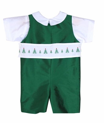 Susanne Lively Boys Shortall with Christmas Tree Trim - Green