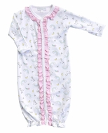 Magnolia Baby Girls Sweet Unicorn Printed Ruffle Converter Gown - Pink